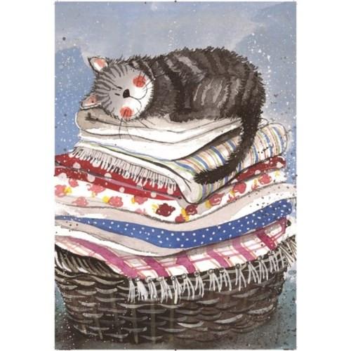 TEATOWEL - Laundry Basket & Cat