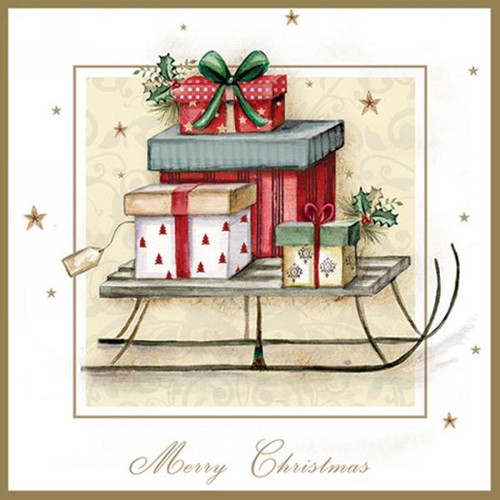 Luncheon napkins - presents on a sled