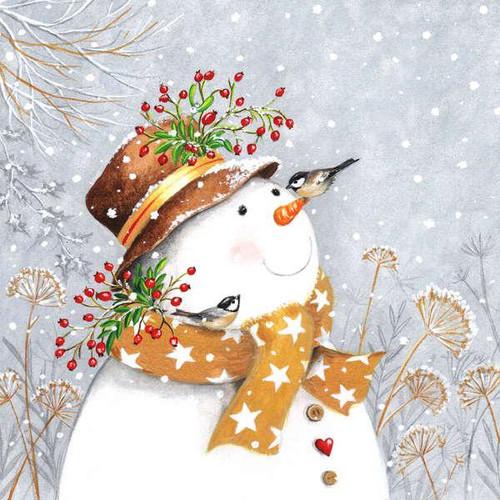 Luncheon napkins - happy snowman
