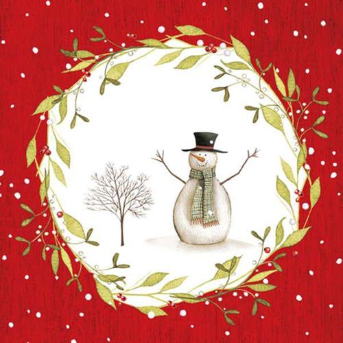 Red & white luncheon napkins - snowman