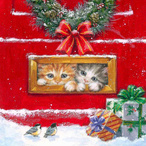 Luncheon napkins - hiding kittens