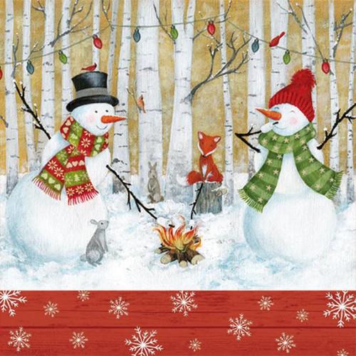 Luncheon napkins - snowmen & campfire