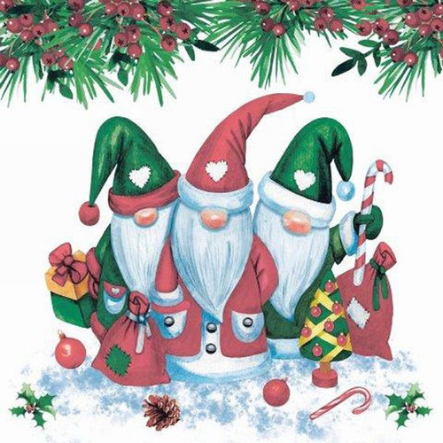 Luncheon napkins - gnomes in red & green