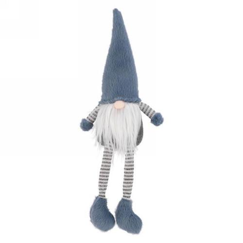 Plush blue grey sitting gnome