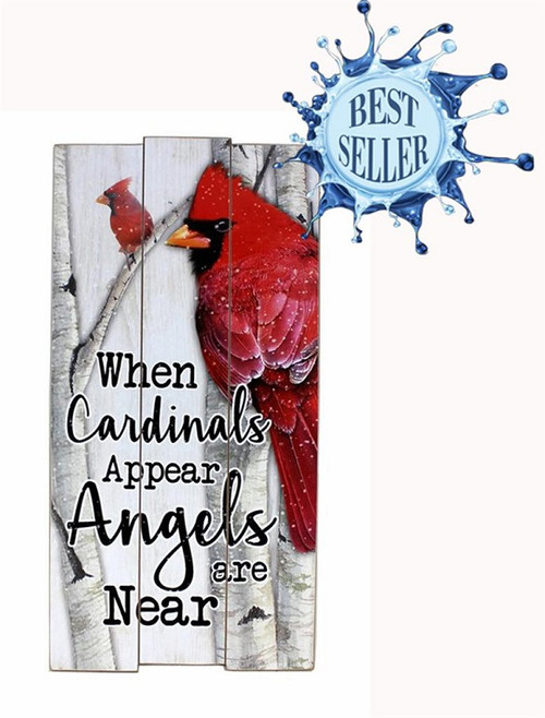 Cardinal in Heaven Wood Sign