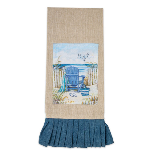 Beach Chair Coastal Tea Towel