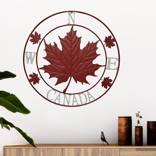 Red Maple Leaf Compass Circle