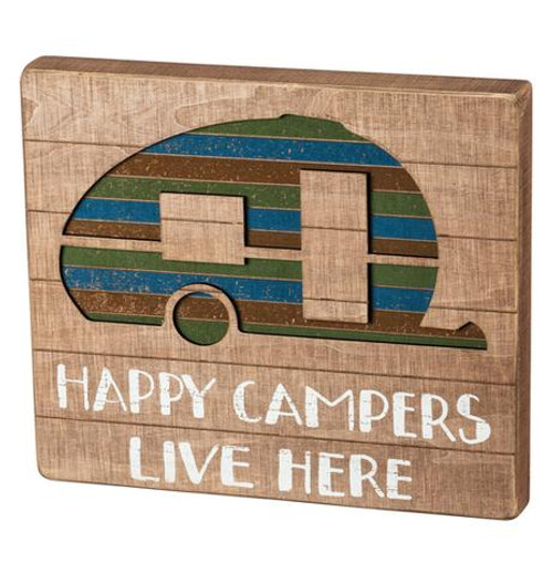 "BOX SIGN, SLAT ""HAPPY CAMPER"""