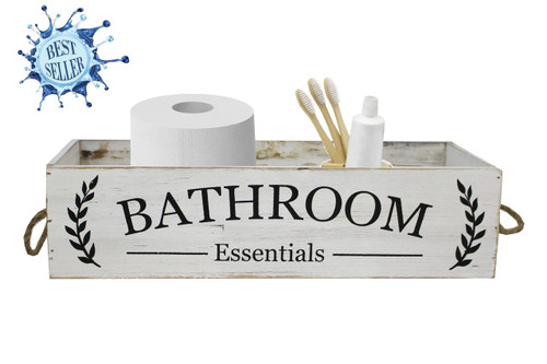 Bathroom Essentials Rustic Wood Box w/Rope