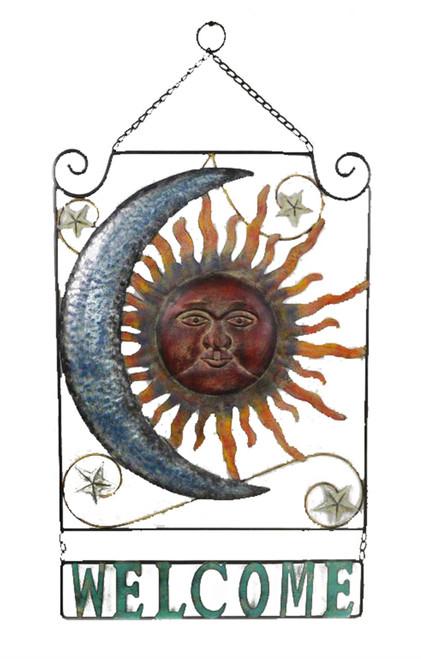 Large Metal Framed Sun/Moon Wall Art