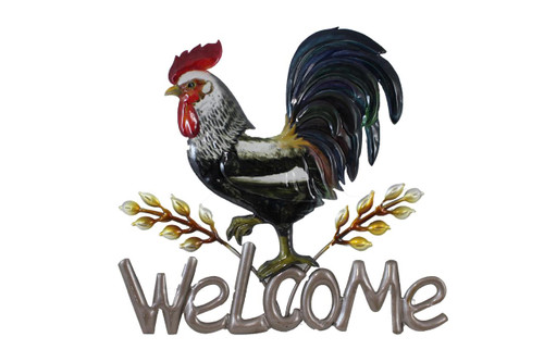 Metal Rooster/Hay  Welcome Sign