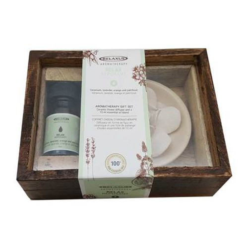 Essential Oils Gift Set & Ceramic Diffuser - Relax