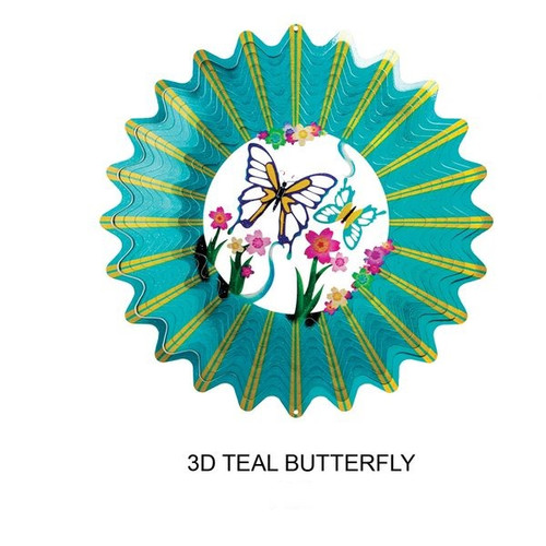 """Wind Spinner-3D Collection Teal Butterfly LARGE 12"""""""