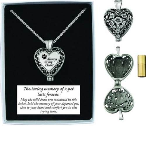Memorial Heart Locket (Ashes) For Pets