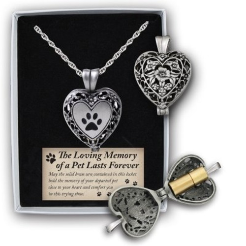 Memorial Heart Locket (Ashes) For Pets Paw Print