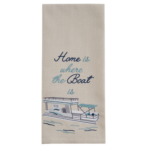 Home is Where the Boat is Embroidered Kitchen Dish Towel