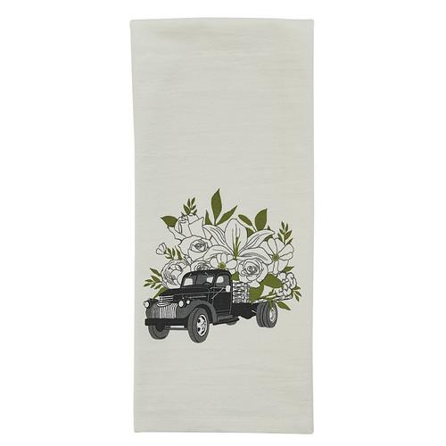 Vintage Flower Truck Printed Kitchen Dishtowel