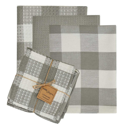 Wicklow Check Dove 3 Dishtowels - 1 Dishcloth Set