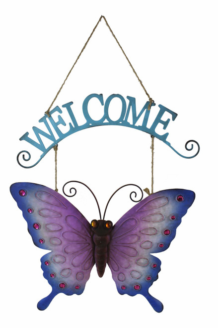 Hanging Butterfly Welcome Wall Art