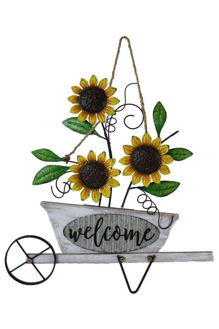 Hanging Sunflower/Wheelbarrow Welcome Wall Art