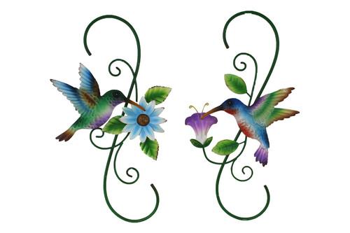 Metal Hummingbird w/Flower Wall Art (2 Styles to choose from)