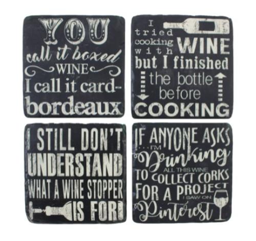 Chalkboard Style Wine Coasters Set of 4 (Resin)