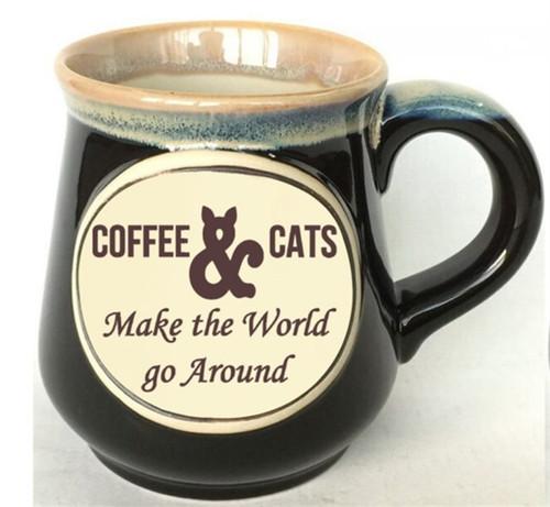 18oz Etched Mug - Coffee & Cats