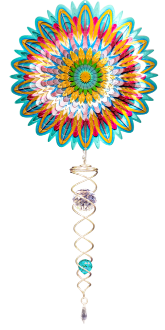 """Wind Spinner Set- Small Floral Mandala w/7"""" Twister Tail"""