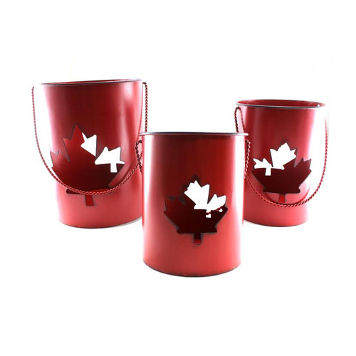 Large Metal Canada Candle Pot w/ LED Candle - 3 Sizes Available