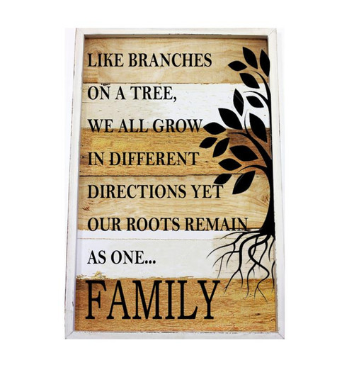 Family Roots Framed Wood Plaque