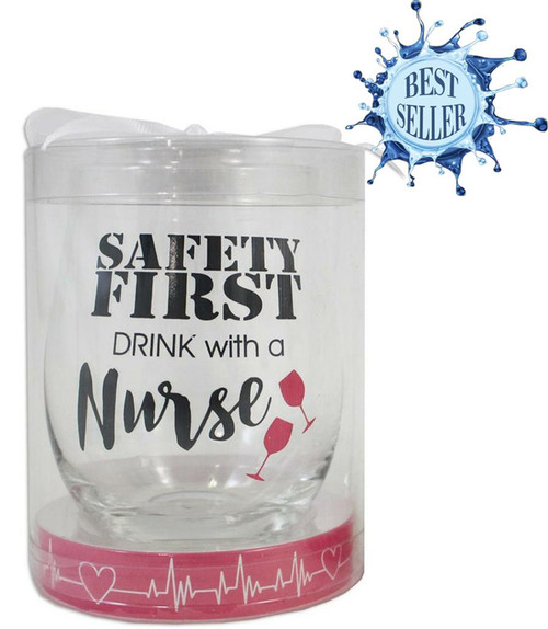 Stemless Nurse Wine Glass - Safety First