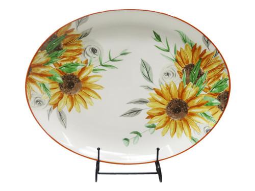 Ceramic Sunflower Oval Platter