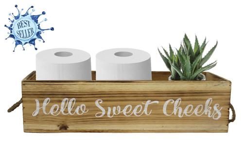 Bath Box Wood w/Rope Handle - Sweet Cheeks