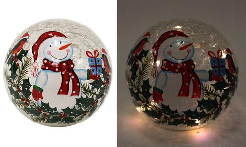 LED Glass Ball w/Snowman Design