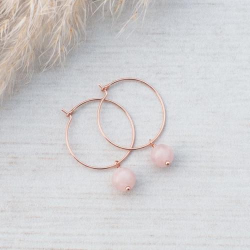 Bellamy Hoops-rose gold/rose quartz