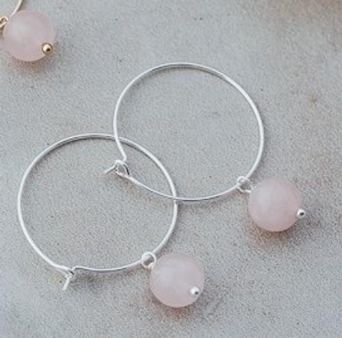 Bellamy Hoops-silver/rose quartz