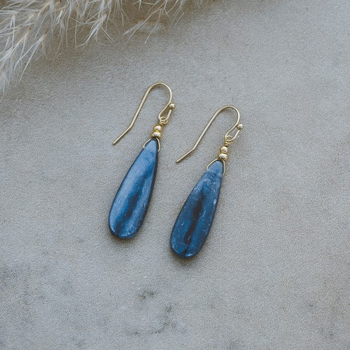 Ruth Earrings-gold/kyanite