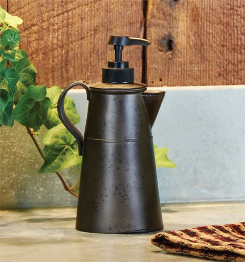 Tin Looking Coffee Pot Soap Lotion Dispenser