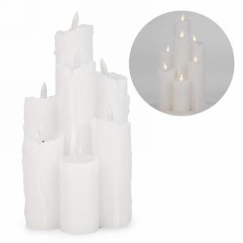 7 Flickabright Melted Real Wax LED Lit Battery Powered Candles (Made out of real Wax)