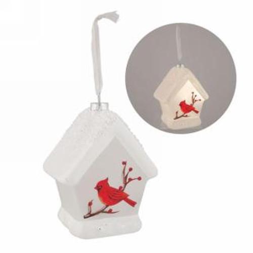 LED Birdhouse ornament with cardinal
