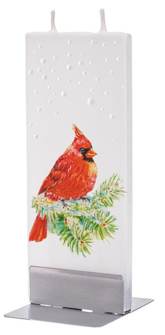 Flatyz Handpainted Flat Candle - Snowy Cardinal on Pine Branch