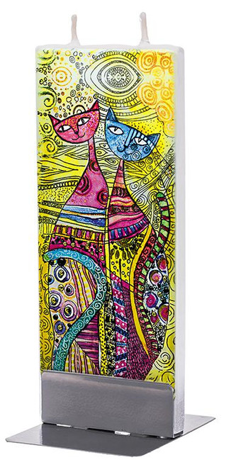 Flatyz Handpainted Flat Candle - Two Cats, African Motif