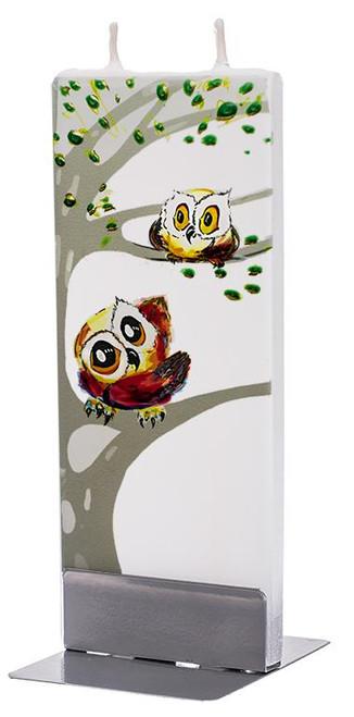 Flatyz Handpainted Flat Candle - Whimsical Owls
