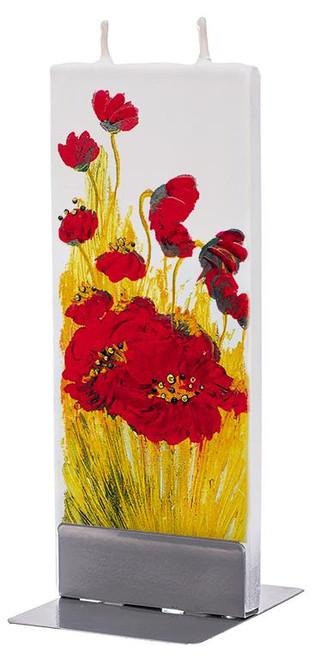 Flatyz Handpainted Flat Candle - Poppy Blossom