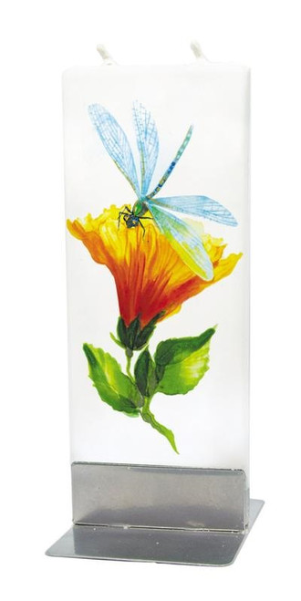 Flatyz Handpainted Flat Candle - Dragonfly with Hibiscus