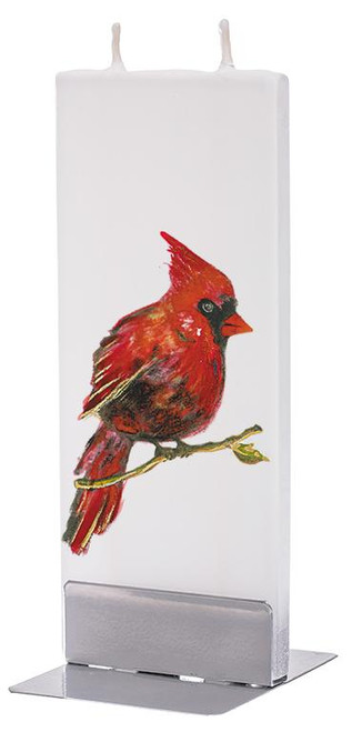 Flatyz Handpainted Flat Candle - Red Cardinal Candle on Branch