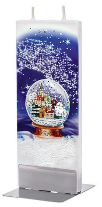 Flatyz Handpainted Flat Candle - Snow Globe