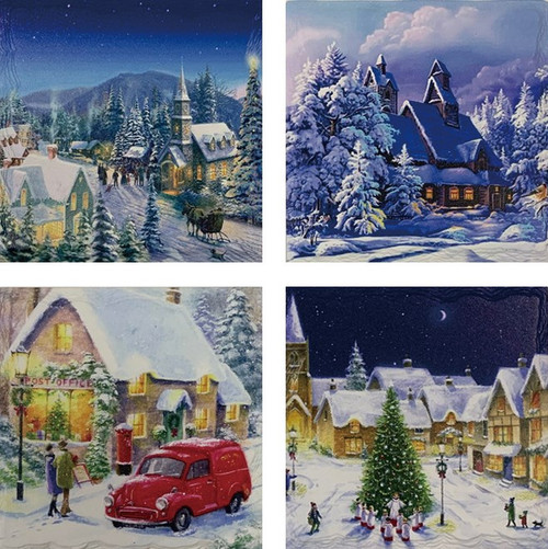 Winter Holiday Square Stone Edge Coasters (Set of 4)