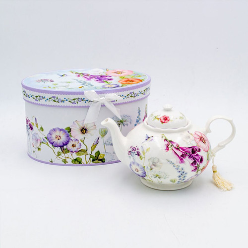 Ceramic Tea Pot with Flowers in a Decorative Gift Box.