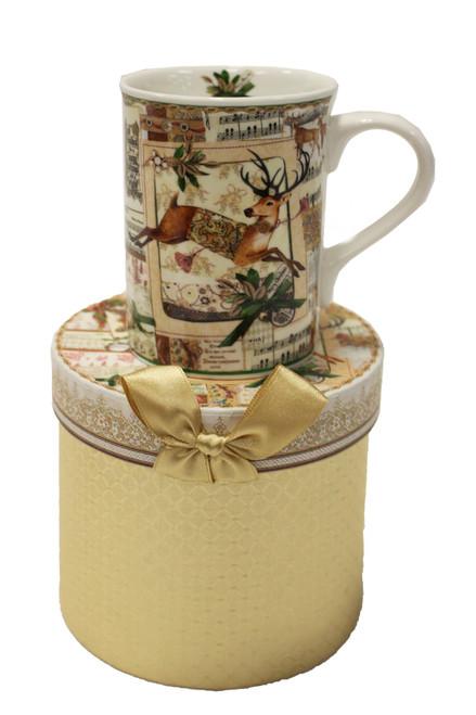 Mug Gift Set w/matching Gift Box - Beige w/Deer
